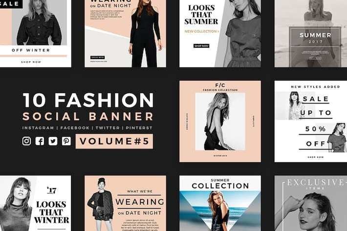 Thumbnail for Fashion Social Media Banners - Kit 05