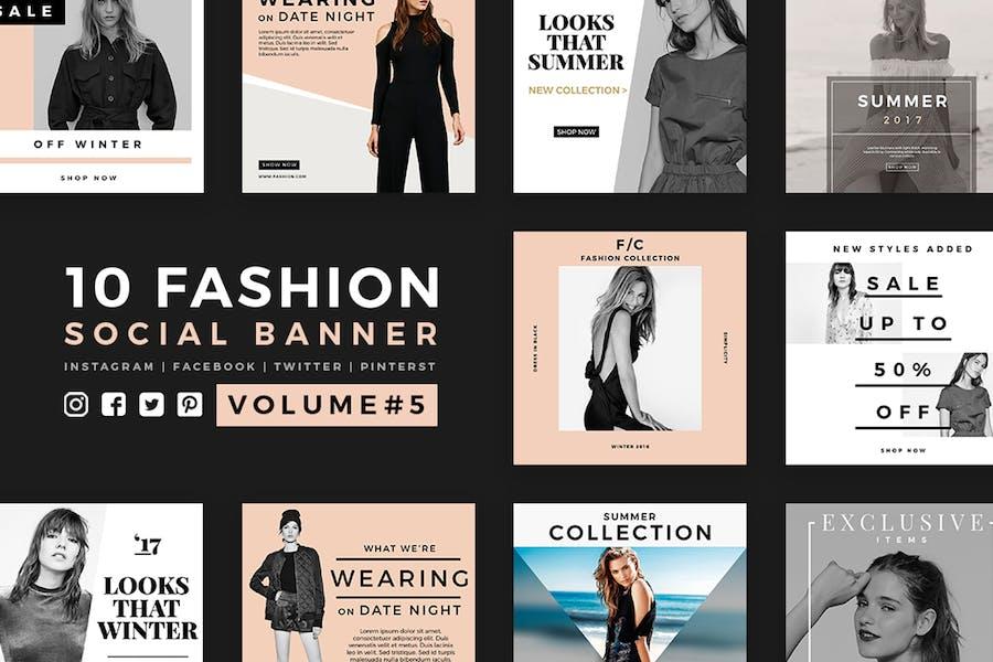 Модные социальные медиа баннеры - Kit 05