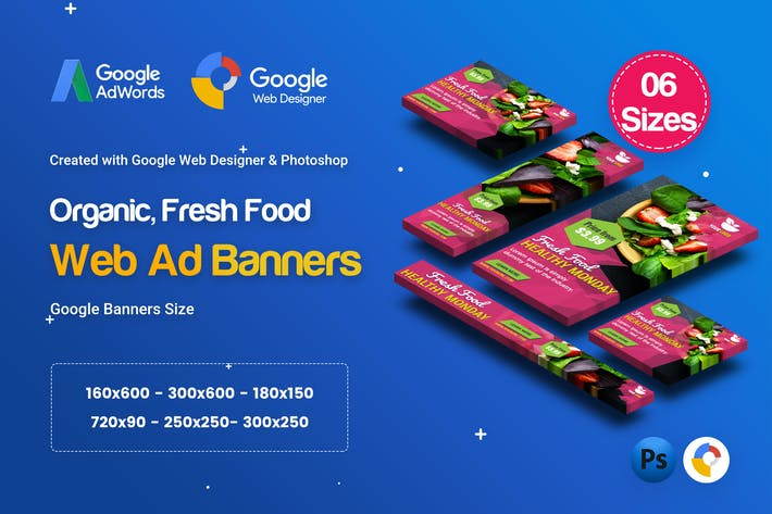 Thumbnail for C47 - Organic, Fresh Food Banners GWD & PSD