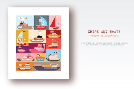Ships and Boats pop art vector design