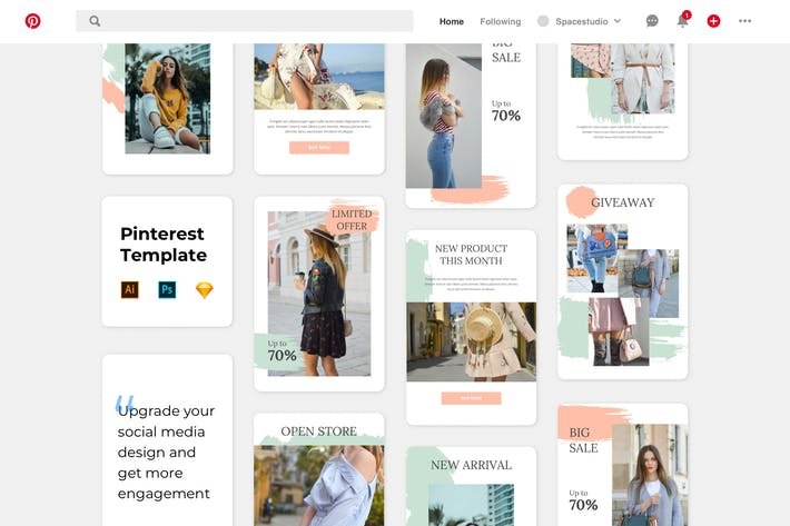 Thumbnail for Fashion Pinterest Template Brush Style