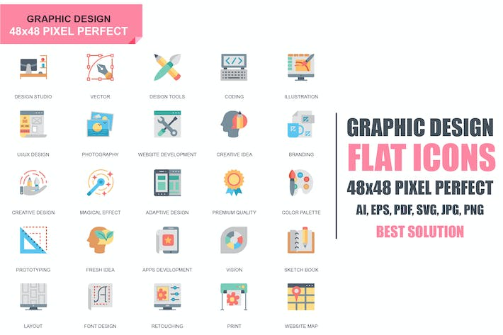 Cover Image For Simple Set Web and Graphic Design Flat Icons