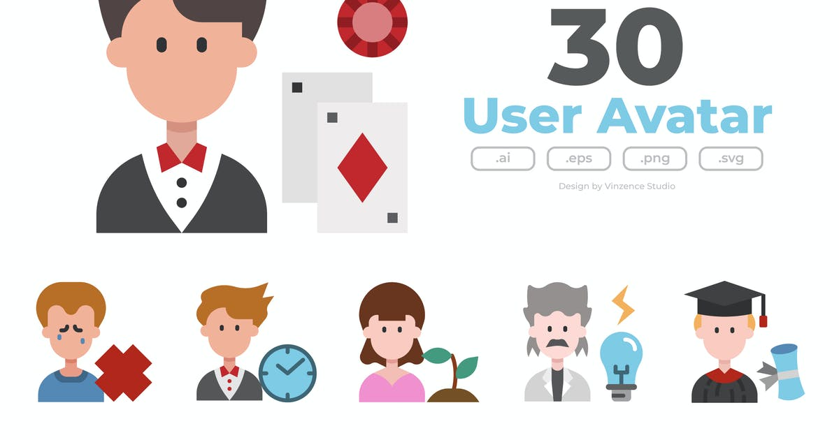 Download 30 User Avatar Icons  - FLAT by winnievinzence