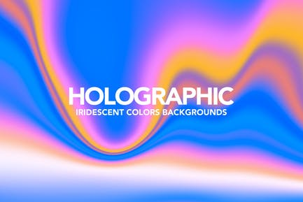 Neon Holographic Abstract Background Set