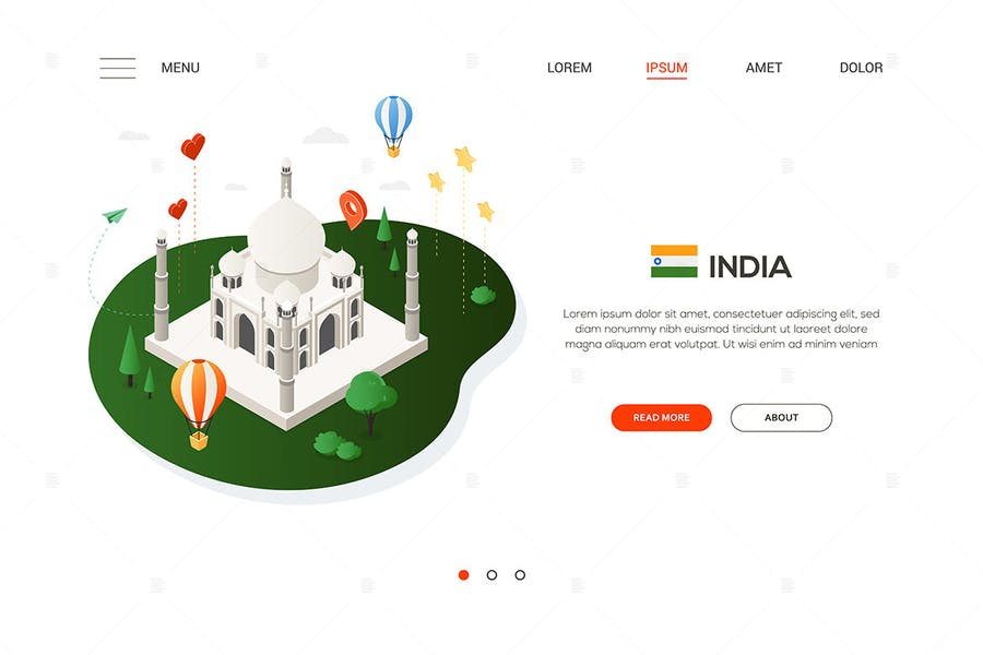 Travel to India - isometric banner illustration