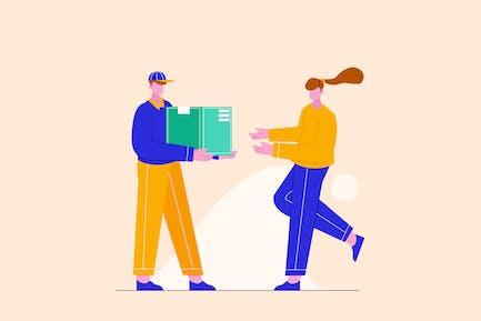 Delivering Package to Customer Illustration