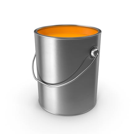 Lata de pintura de metal naranja