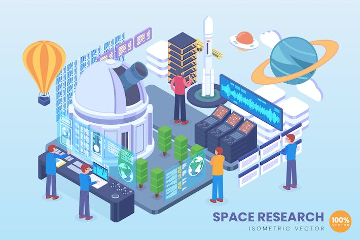 Thumbnail for Isometric Space Research Vector Concept