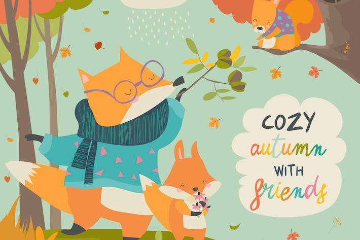 Thumbnail for Red fox father and son in autumn forest. Vector