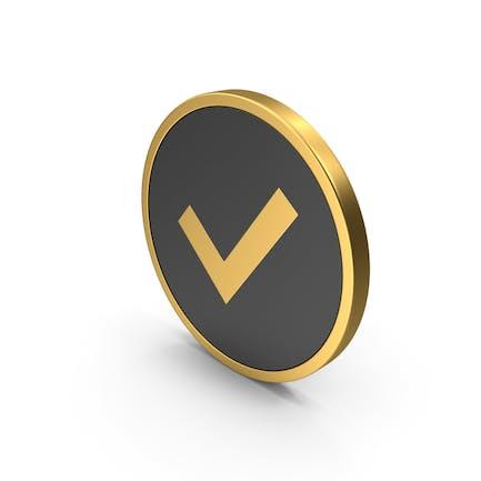Gold Symbol Häkchen