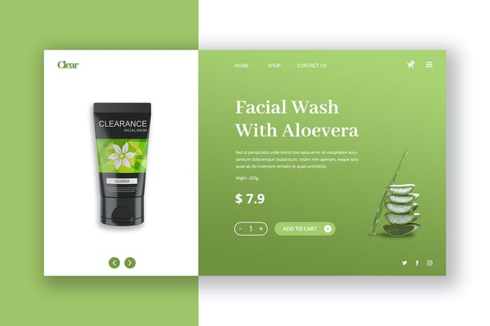 Thumbnail for Skin Care Hero Header PSD Template