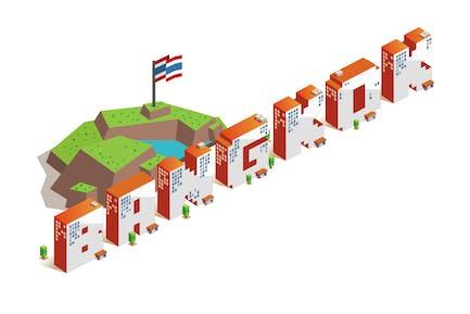 Bangkok city isometric text flat vector