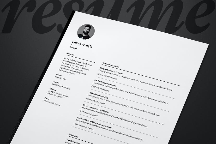 Single page resume/CV and cover letter - vol. 9