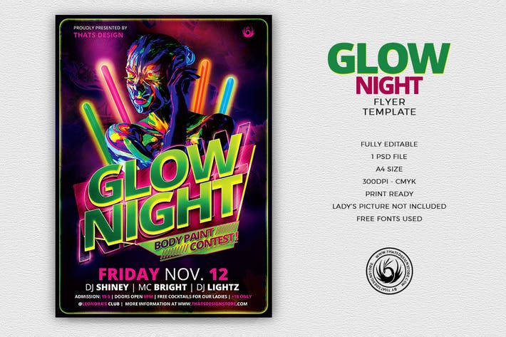 Thumbnail for Glow Night Flyer Template