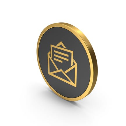 Gold Icon Letter With Paper