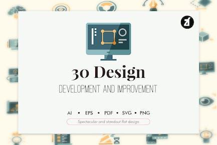 30 Designentwicklung im flachen Design