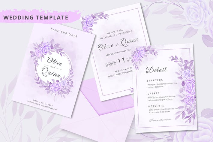 Wedding invitation elegant theme template