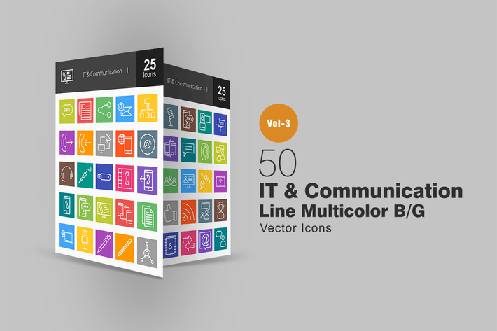 Thumbnail for 50 IT & Communication Line Multicolor Icons