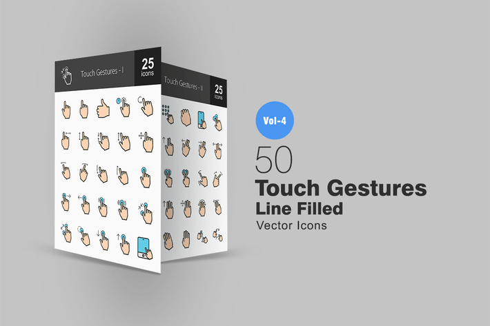 Thumbnail for 50 Touch Gestures Line Filled Icons