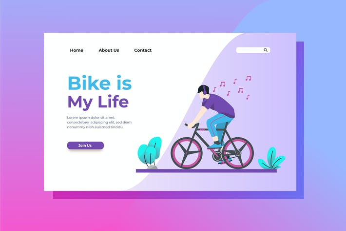 Thumbnail for Bike is My Life Landing Page Illustration