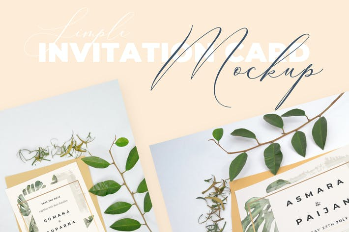 Thumbnail for Beautiful Realistic Wedding Invitation Mockup V4
