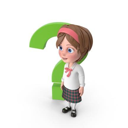 Cartoon Mädchen stehend neben Fragezeichen