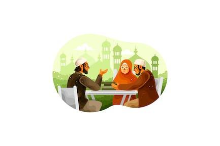 Les musulmans apprennent la religion des ulémas