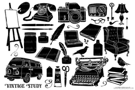 Vintage Study Silhouette Graphic Illustrations