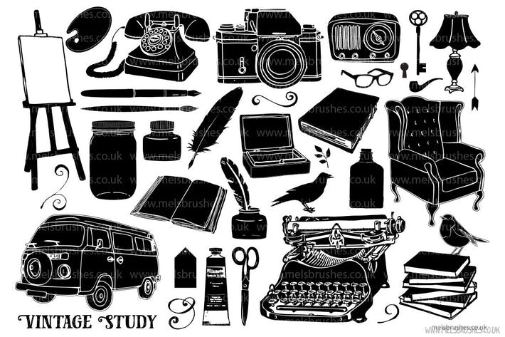 Thumbnail for Vintage Study Silhouette Graphic Illustrations