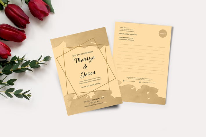 Thumbnail for Wedding Invitation & RSVP Card