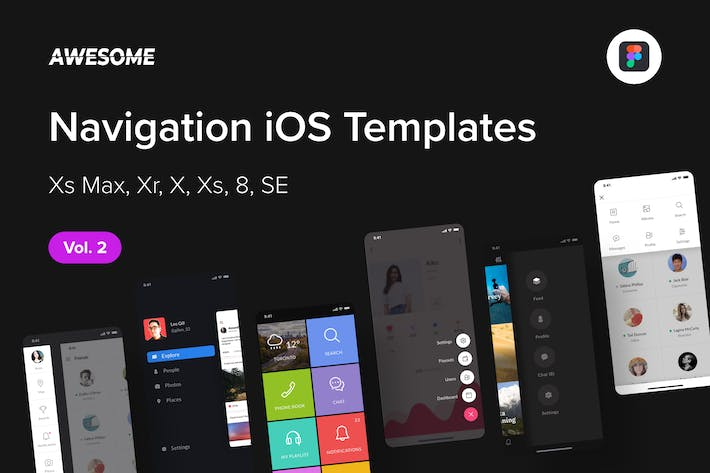 Thumbnail for Awesome iOS UI Kit - Navigation Vol. 2 (Figma)