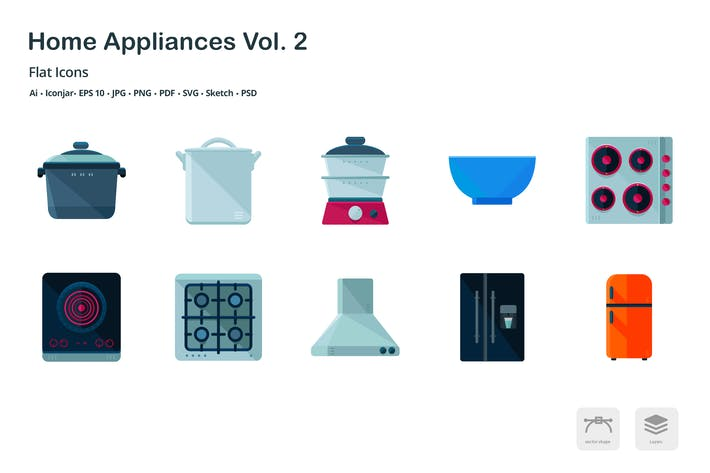 Thumbnail for Home Appliances Vol. 2 Flat Colored Icons