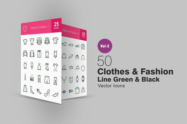 Thumbnail for 50 Clothes & Fashion Line Green & Black Icons