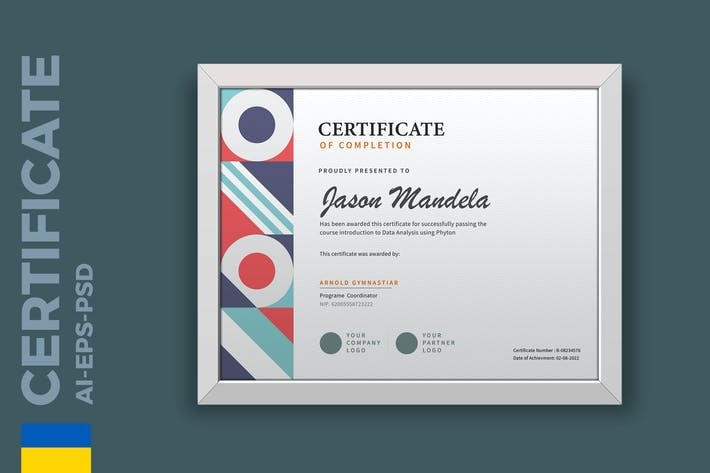 Thumbnail for Modern Geometri Certificate / Diploma Template