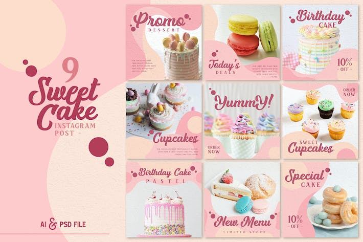 Thumbnail for Sweet Cake Instagram Post Templates