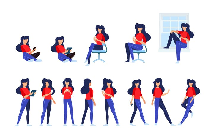 Thumbnail for Flat Design Concepts of Woman in Different Poses