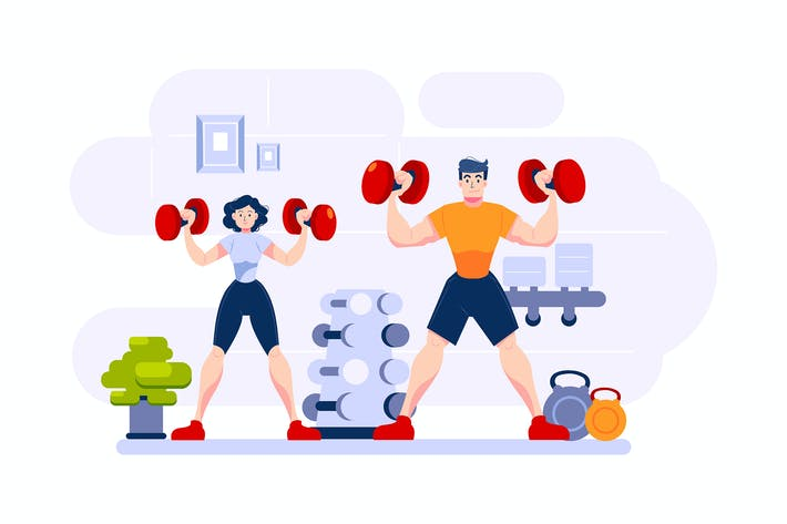 Thumbnail for Two bodybuilders are on their weightlifting