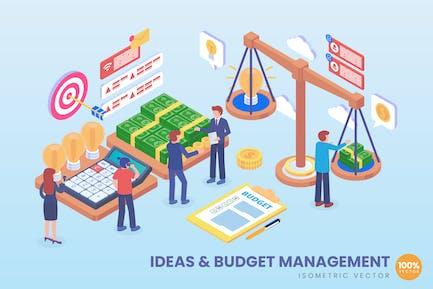 Isometrische Ideen und Budget-Management Vektor