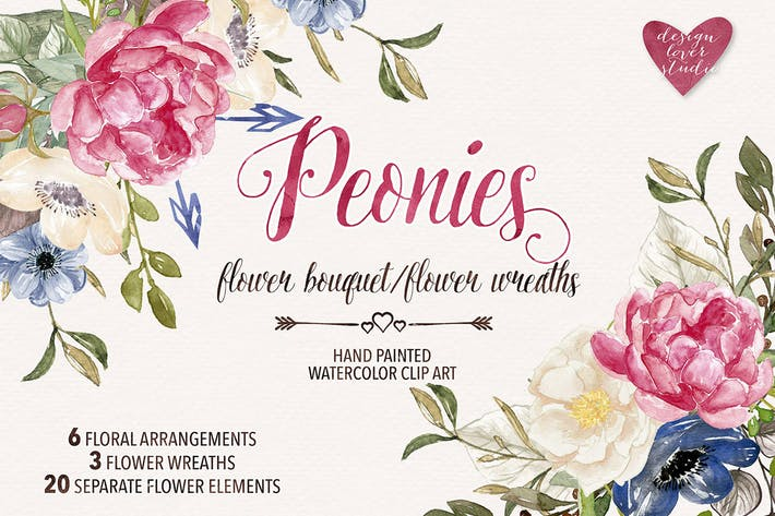 Thumbnail for Watercolor Peonies wreaths/bouquets