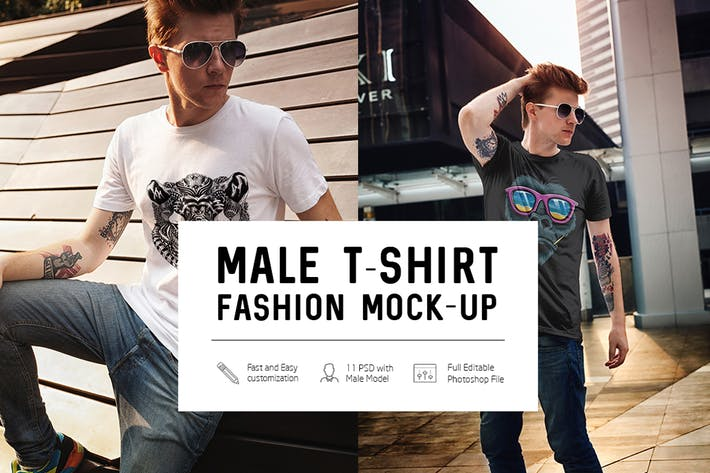 Thumbnail for Male T-Shirt Fashion Mock-Up