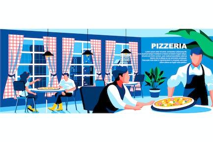 Pizzeria Flat Concept Landing Page Header