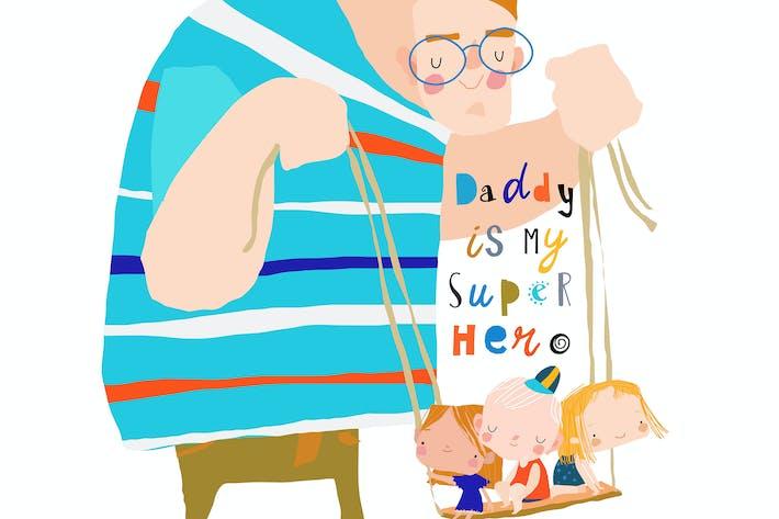 Открытка с Днем Отцов. Отец размахивает детьми