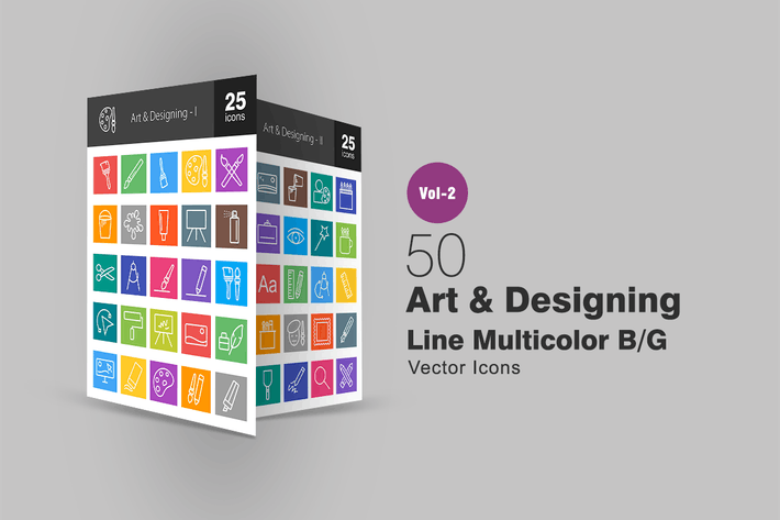 Cover Image For 50 Art & Designing Line Multicolor Icons
