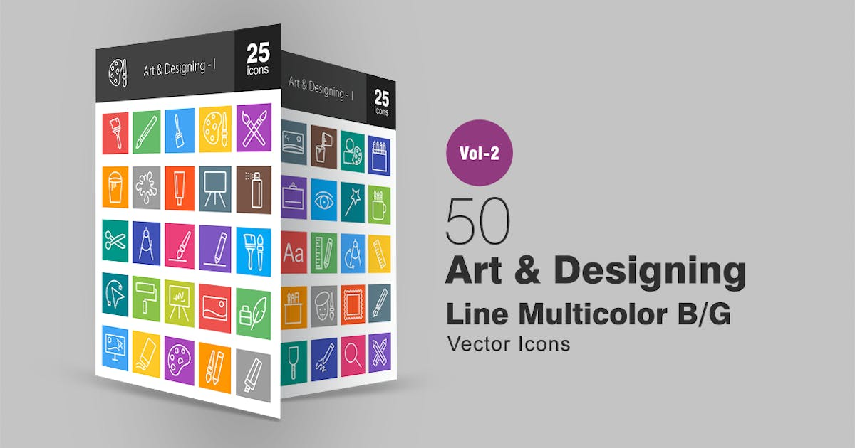 Download 50 Art & Designing Line Multicolor Icons by IconBunny