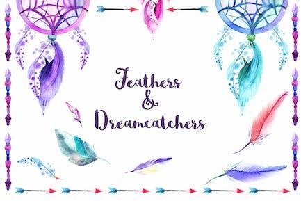 Watercolor Feathers & Dreamcatchers