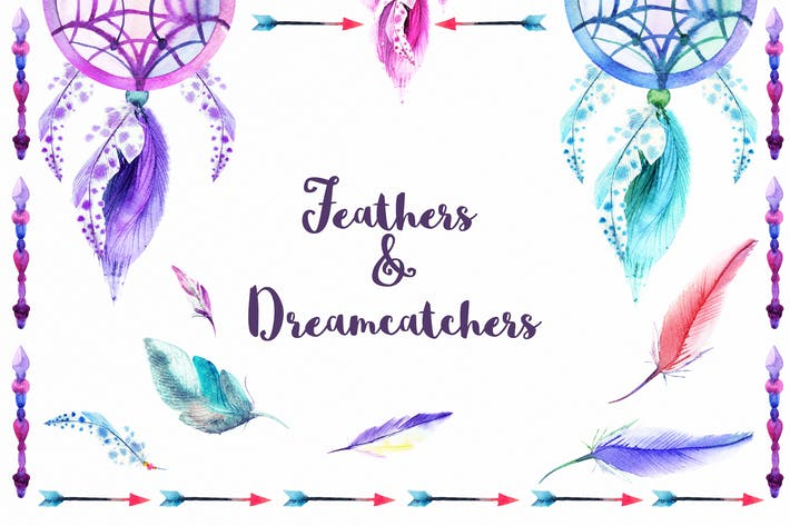 Thumbnail for Watercolor Feathers & Dreamcatchers