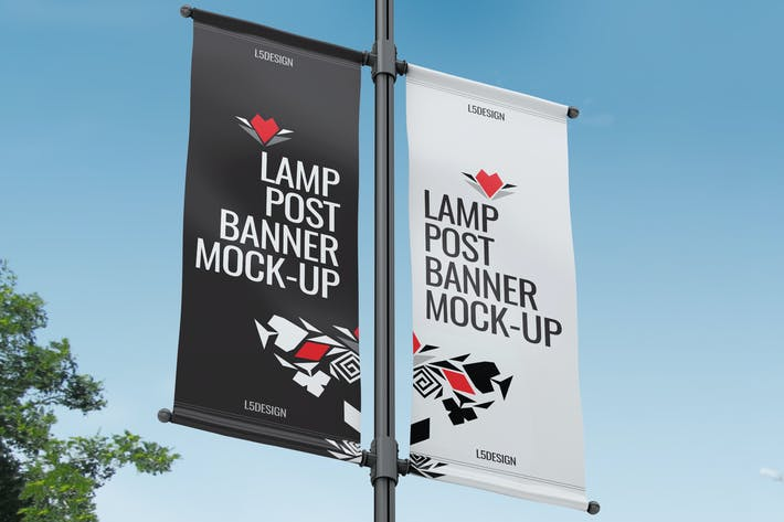 Cover Image For Lamp Post Banner Mock-Up