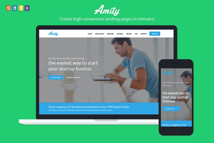 Amity HTML Bootstrap Landing Page Templates By ILMThemes On - Bootstrap landing page template