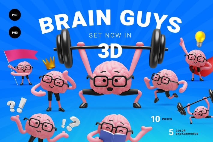 Thumbnail for 3d brain guys. Character set