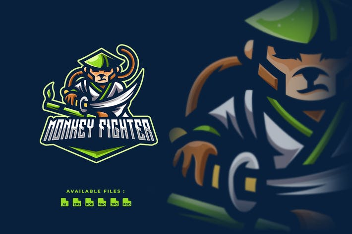 Thumbnail for Monkey Fighter Sport and Esport Logo